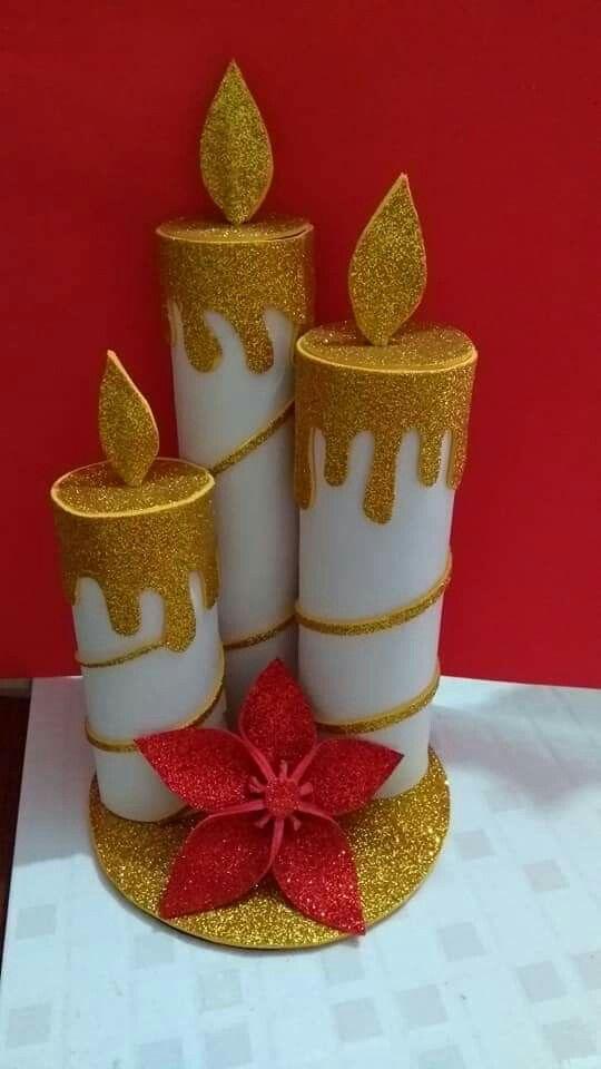 ideas para decorar velas con foamy de navidad altas