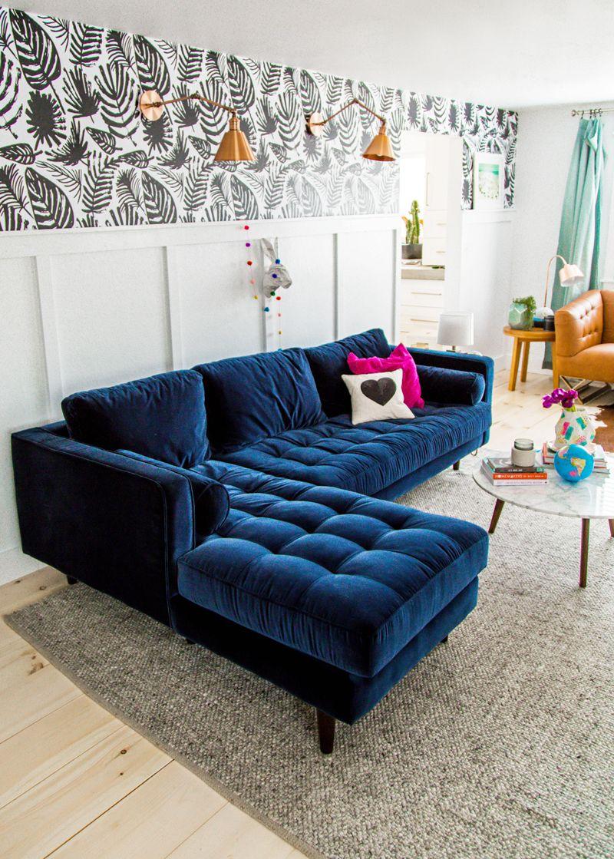 Sofá moderno azul oscuro
