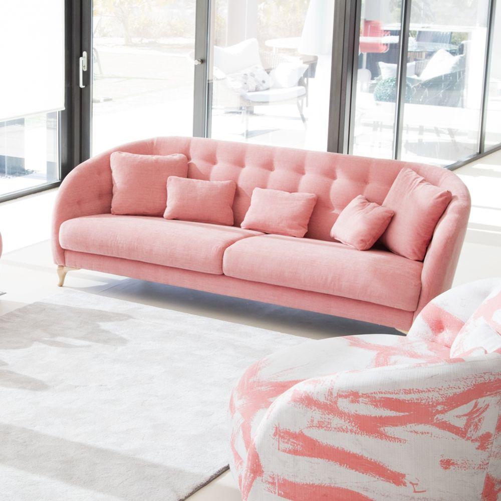 Sofá moderno rosa polvoriento
