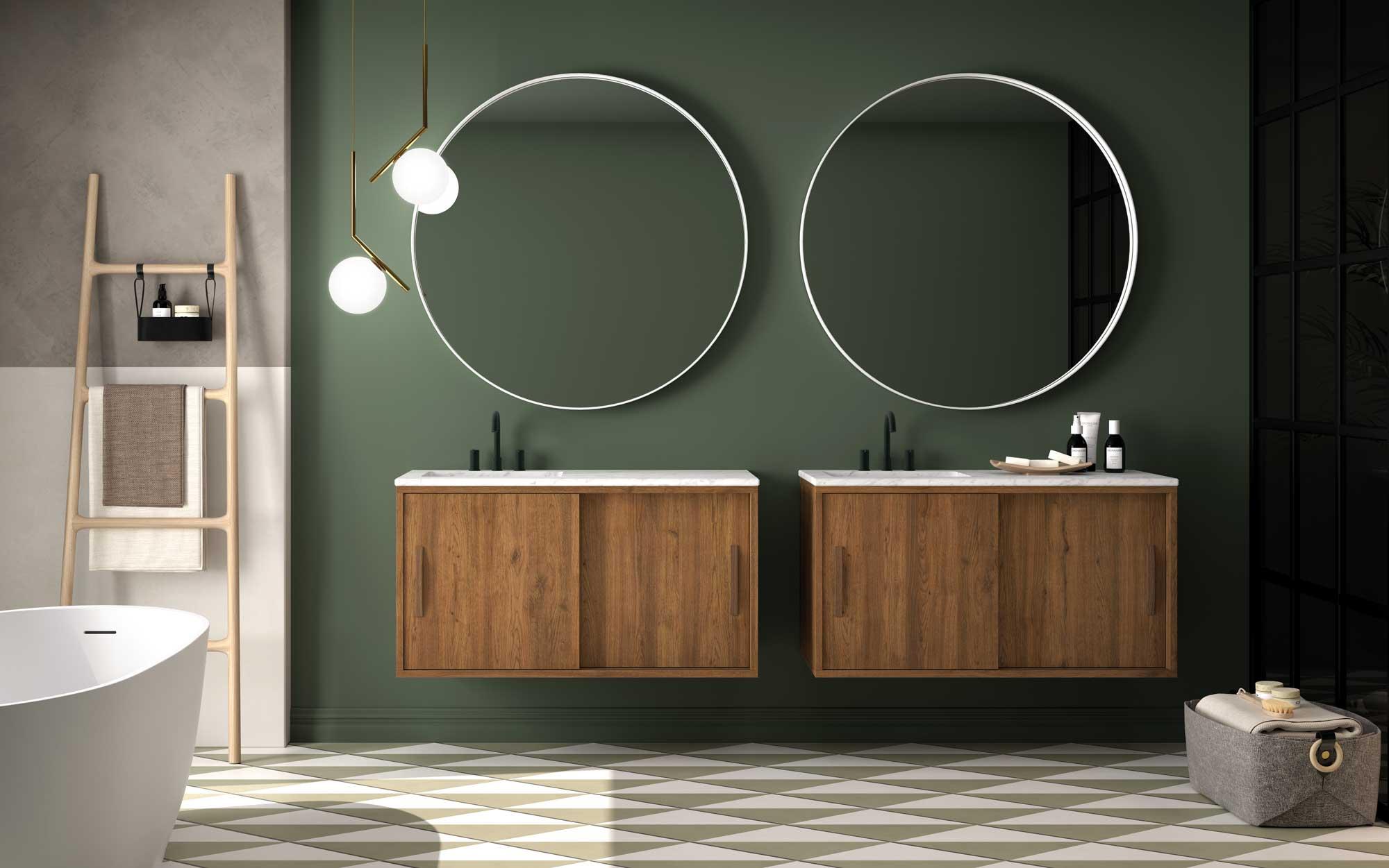 Decoración con espejos redondos en baños