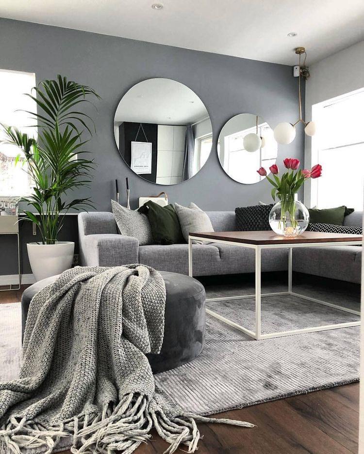 Decoracion con espejos redondos modernos y elegantes