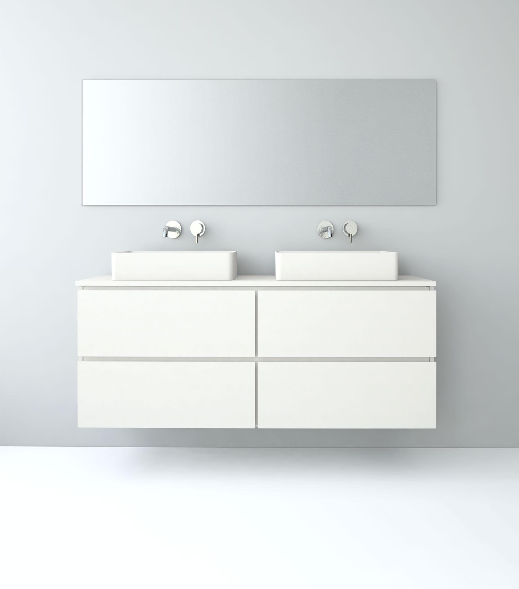 Baños con dos lavabos estilo minimalista