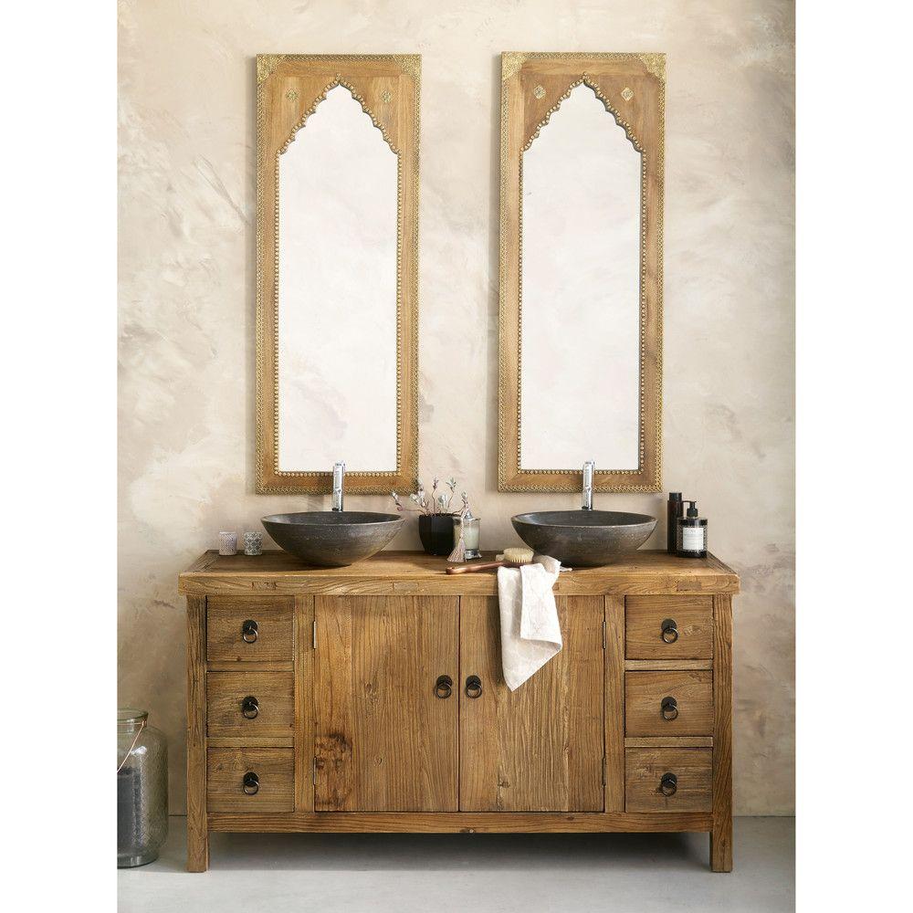 baños con dos lavabos estilo rustico