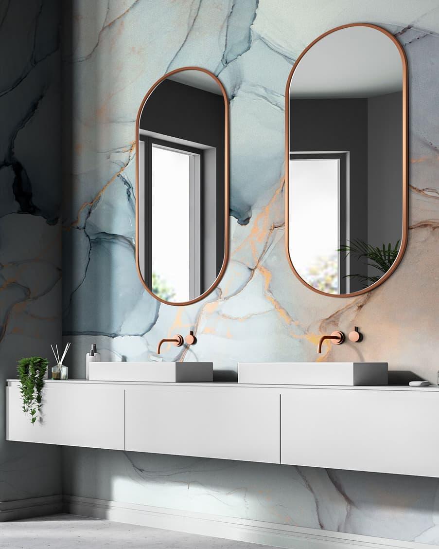 Decoración y diseño de baños con dos lavabos y paredes únicas