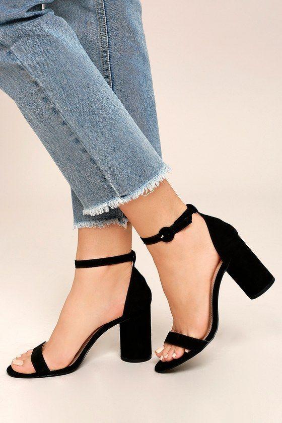 Outfits casuales para el diario mujeres de 30 años o mas: Sandalias negras de tacón