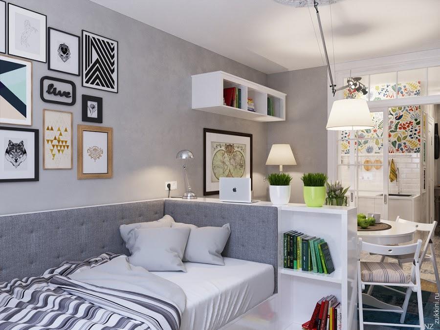 Área de dormitorio para un apartamento de 25 m2