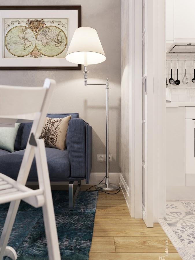 Pequeño apartamento de 25 m2 - muebles separadores de áreas