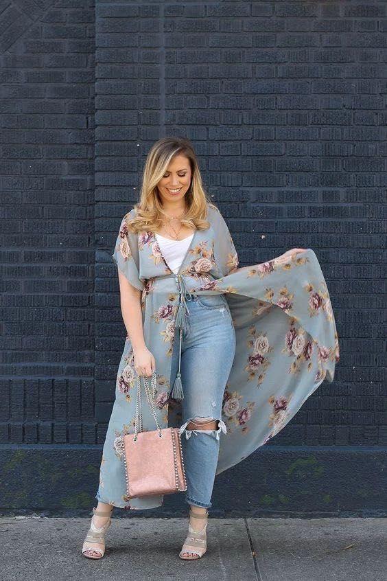 Ideas de outfits con quimono para gorditas