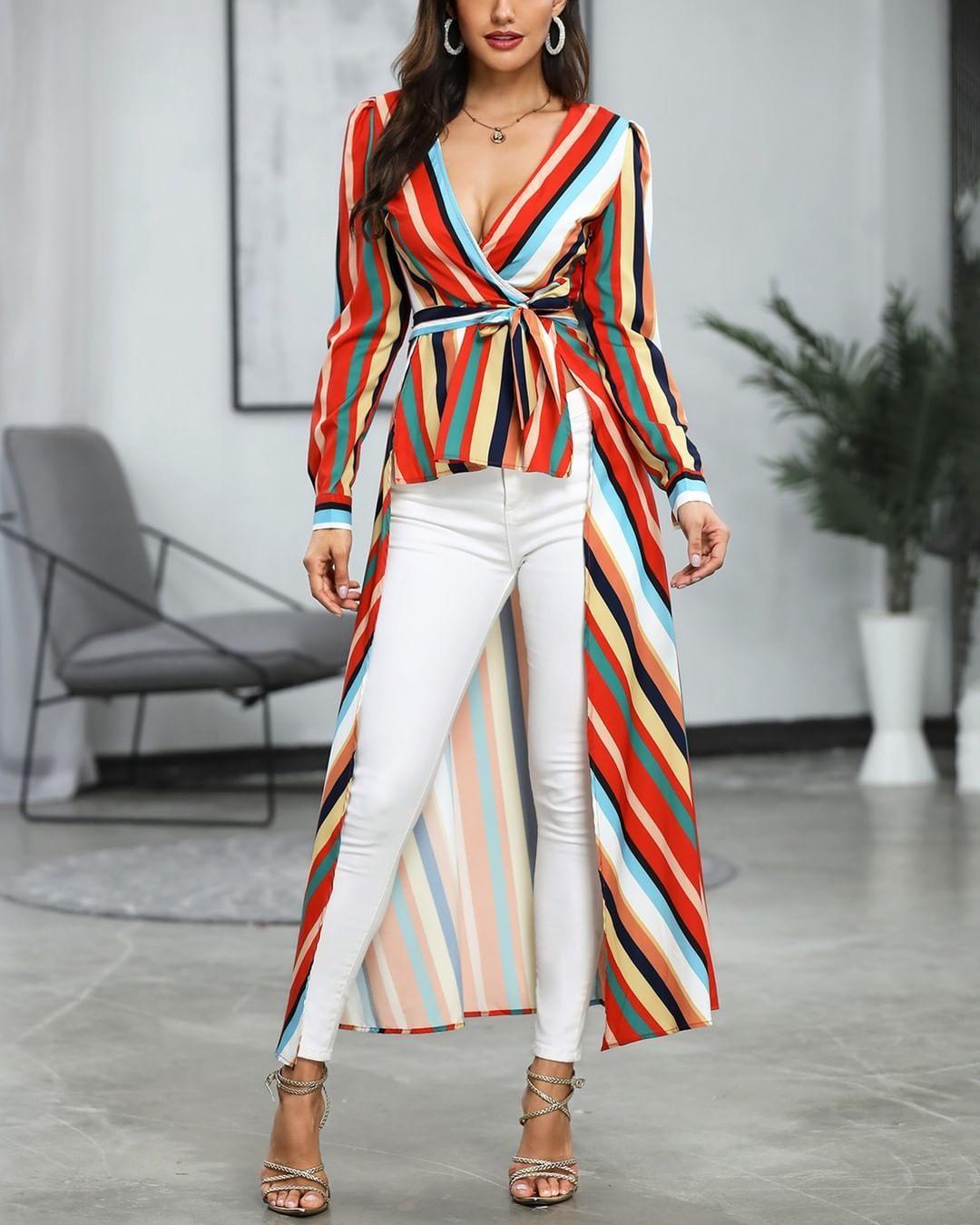 Looks con maxi blusas y pantalon blanco