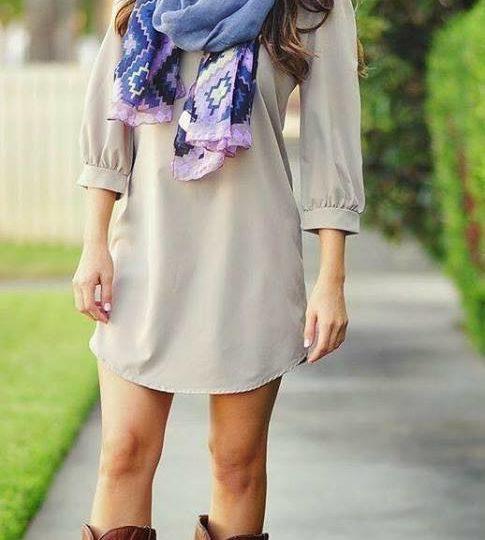 Outfits con botas vaqueras y vestido corto