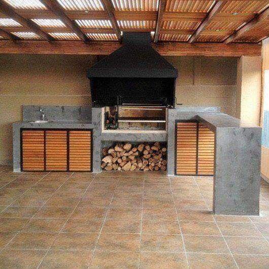 Hornos y fogones estilo rústico con acabado en cemento