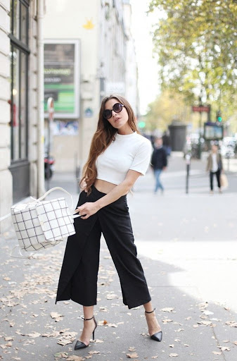 Outfits Con Pantalones Anchos En Color Negro Moda Mujeres