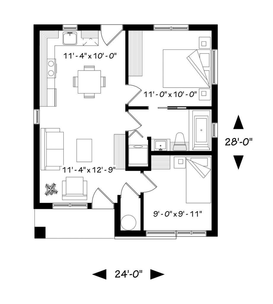 Plano de casa 60 m2