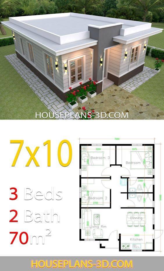 Planos para casas de 7x10 metros