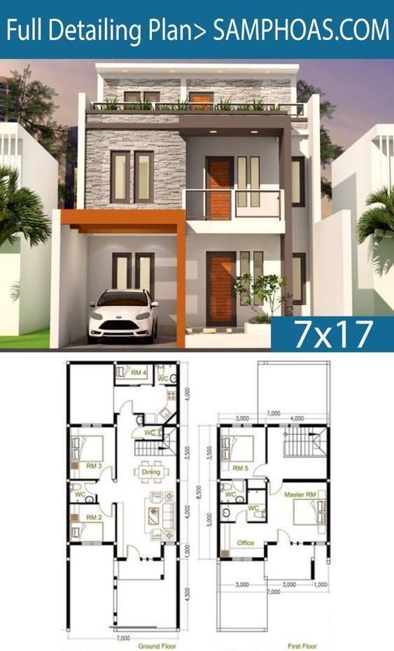 Planos para casas de 7x17 metros