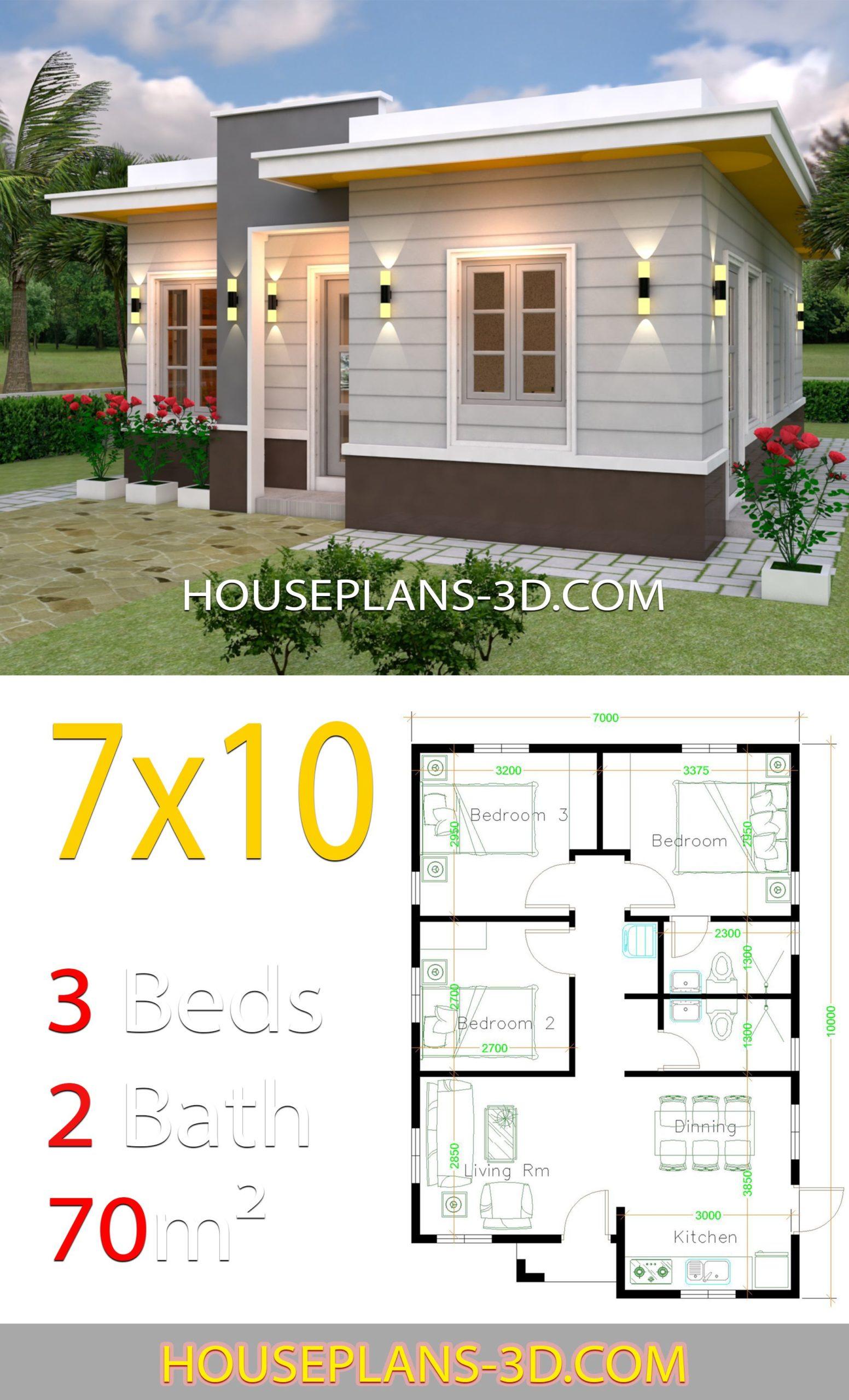 Planos y fachadas para casas de 7x10 de una planta