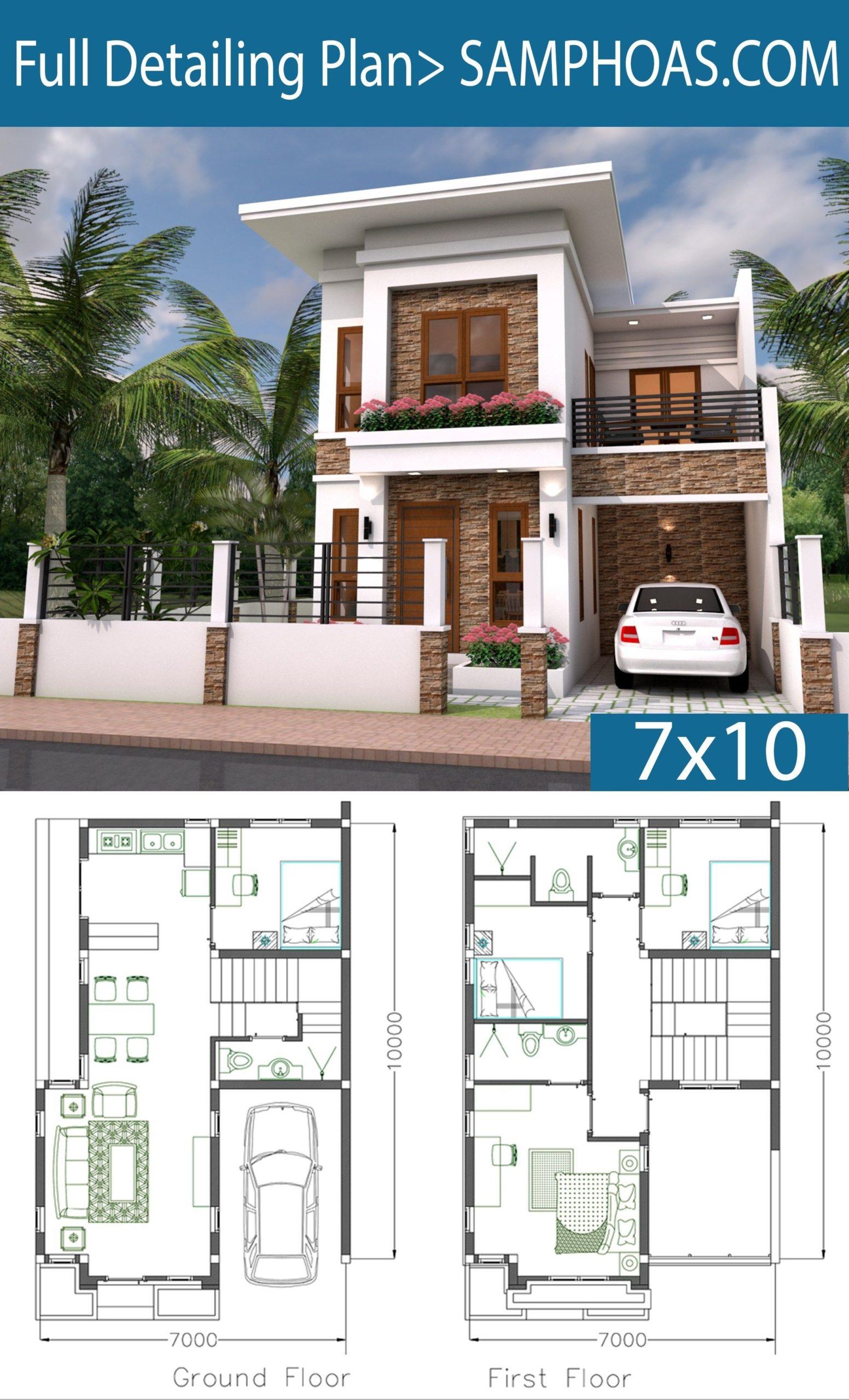 Planos y fachadas para casas de 7x10 metros de dos plantas