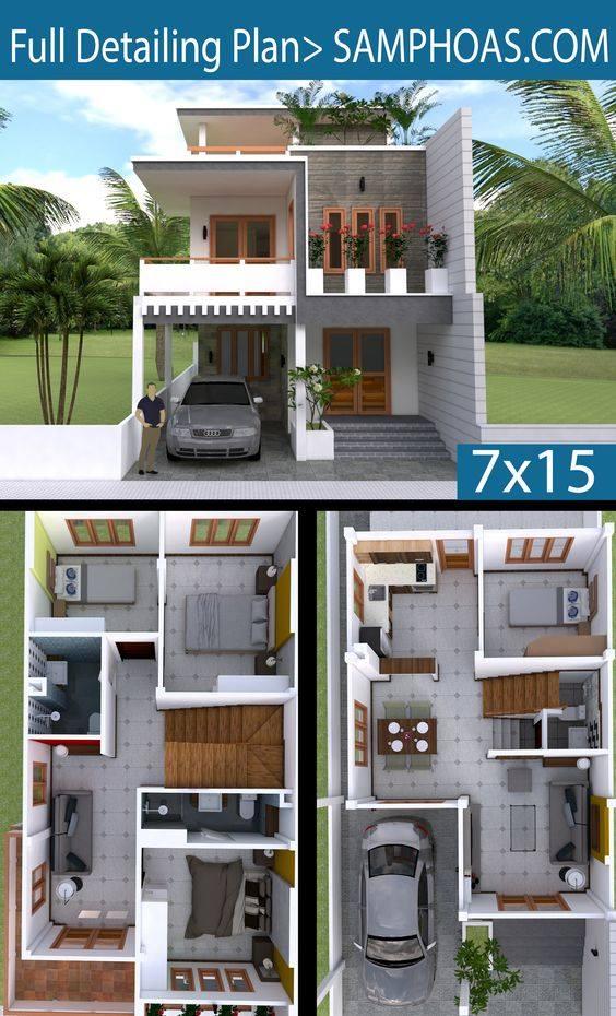 Planos y fachadas para casas de 7x15 metros