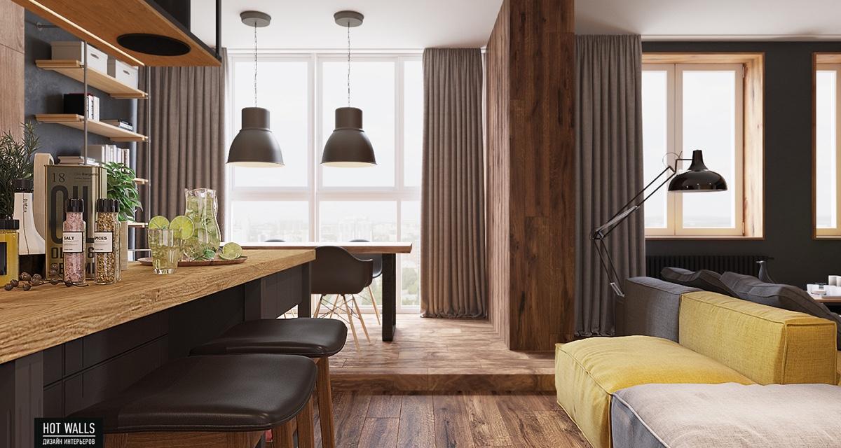 Área de cocina en casa de 60 metros cuadrados