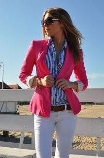 Blazer tono rosa fucsia outfit