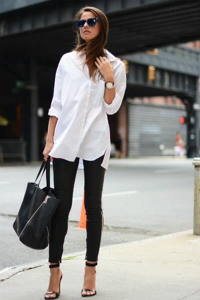 Look blusa blanca con leggins