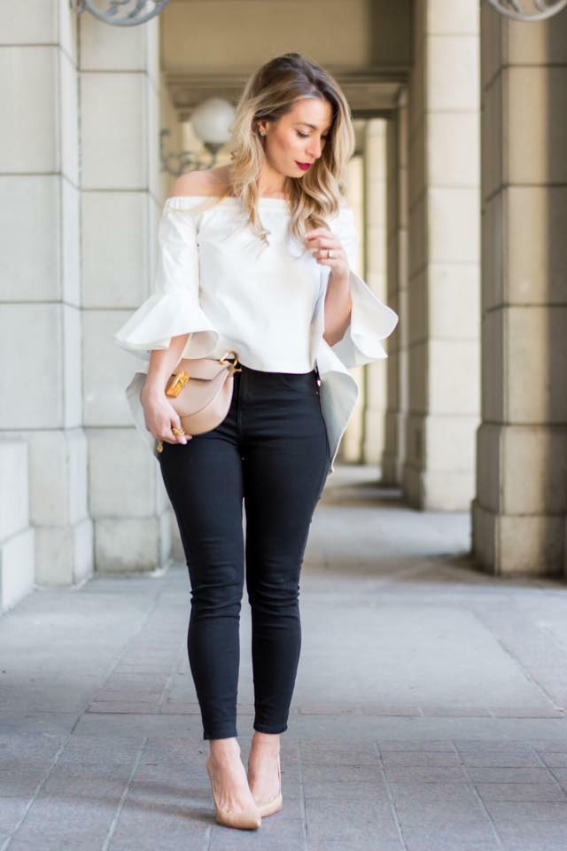 outfit formal con leggins negros