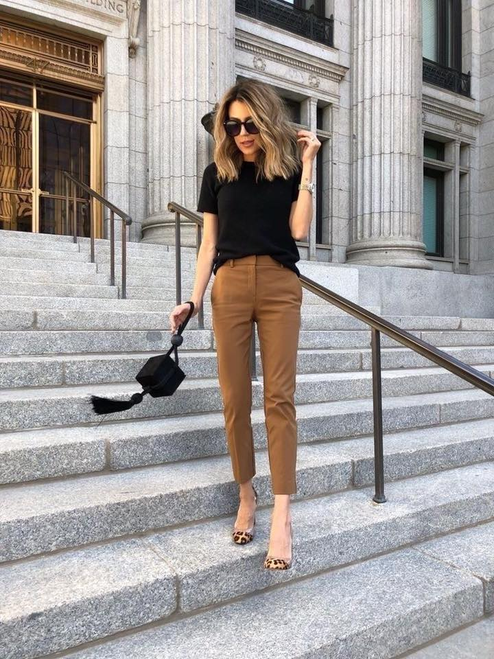 Outfit negro con café mujer