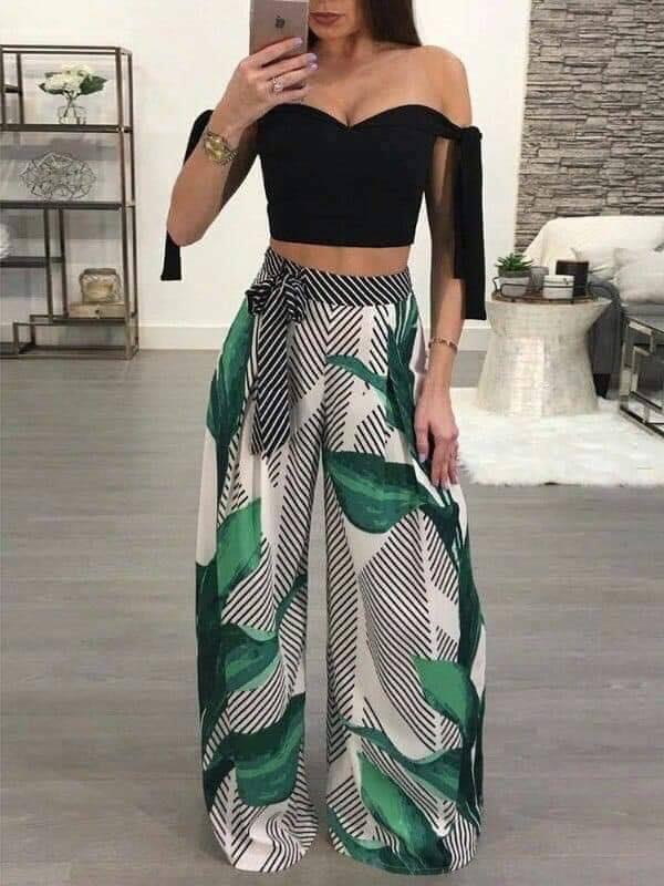 Outfit top y pantalón con patrón