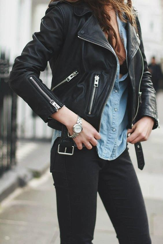 Outfits con chamarra negra