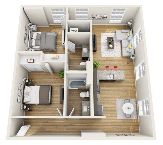 Plano de apartamento con 2 dormitorios y 2 baños paralelos