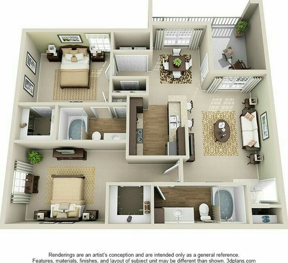 Plan de apartamento con 2 habitaciones y 2 baños cuadrado