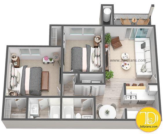 Plano de apartamento con 2 habitaciones y 2 baños pequeños