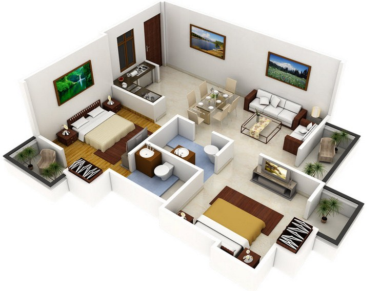 Plano de apartamento con 2 habitaciones y 2 baños
