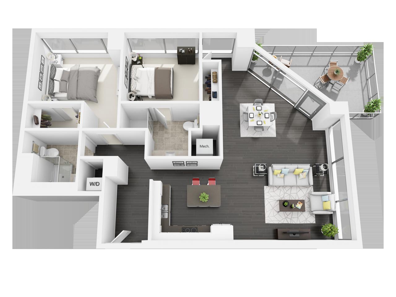 Plano de apartamento con 2 habitaciones y dos baños asimétrico