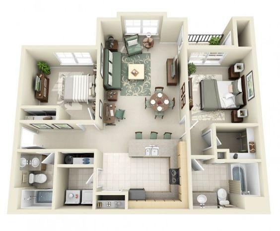 Plano de apartamento con 2 recámaras y 2 baños apartados