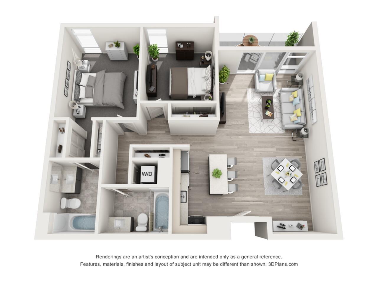 Plano de apartamento con 2 recámaras y 2 baños con tina