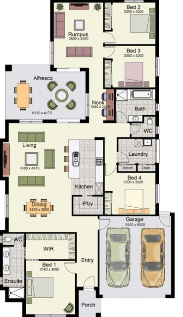 Planos de casa con vista al interior