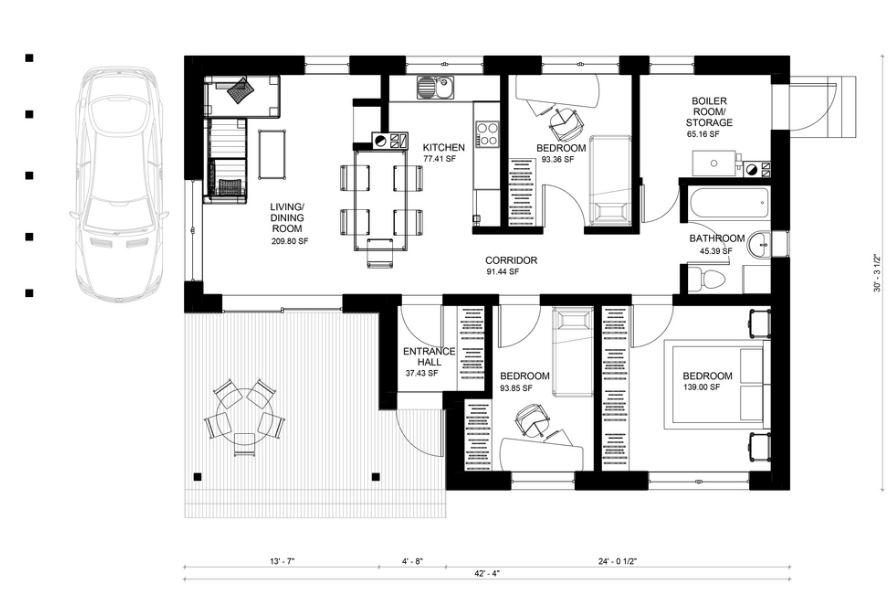 Planos para cabaña moderna de 3 dormitorios
