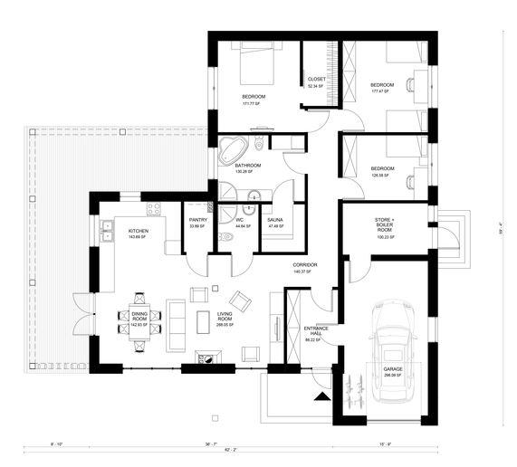 Planos para casa cuadrada con 3 cuartos