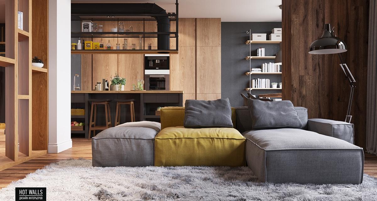 Sala de estar en casa de 60 metros cuadrados