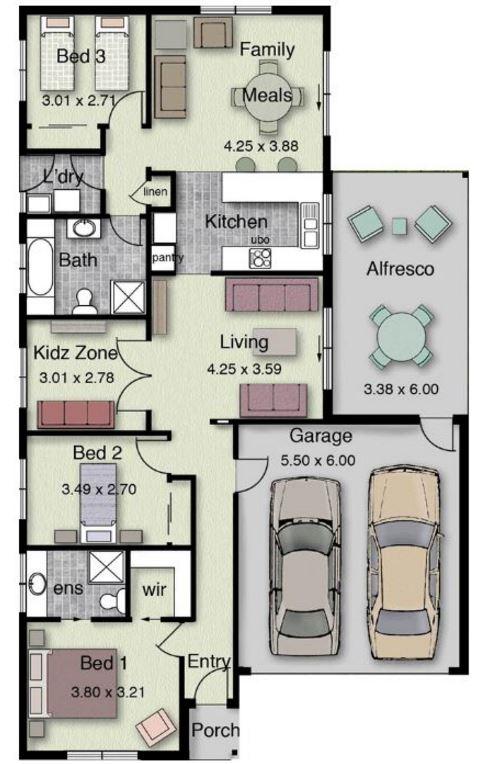 7 Planos de casas modernas de 1 piso y cochera con arco de entrada