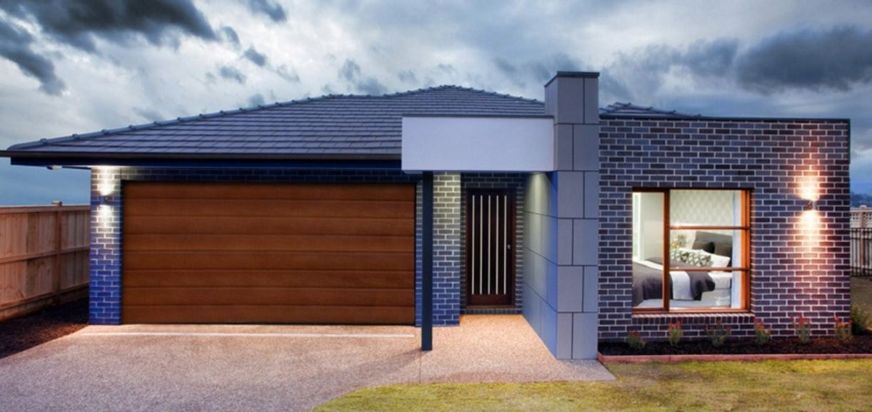 7 Plans of modern 1 story houses and double garage with brick facade