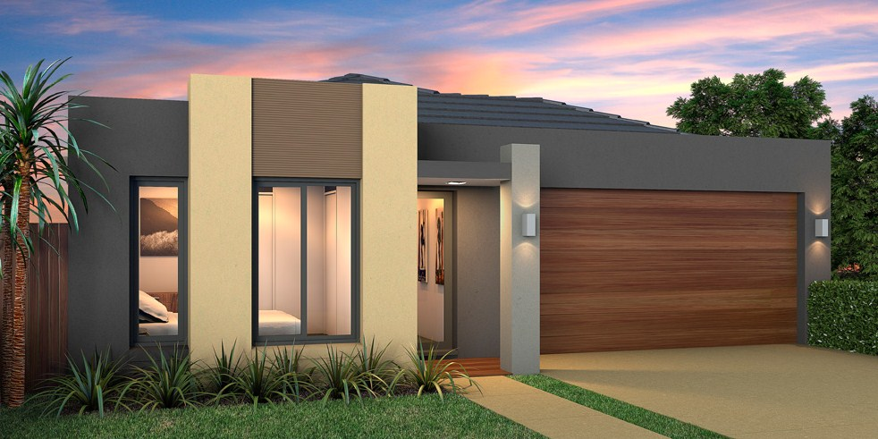 7 Plans of modern houses with 1 floor and double garage with windows
