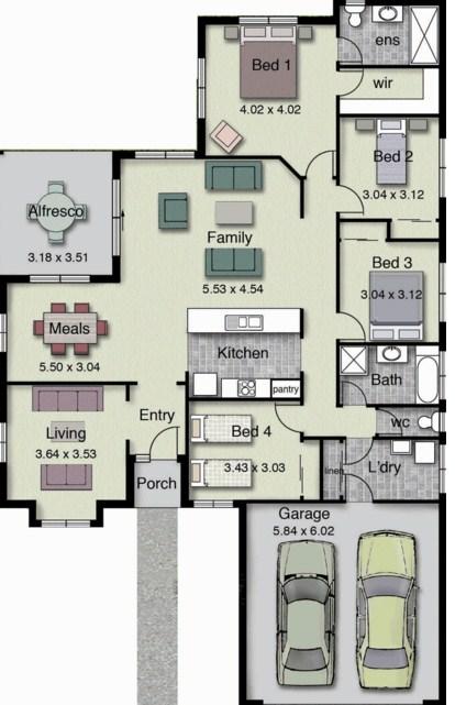 7 Planos de casas modernas de 1 piso y cochera doble moderna