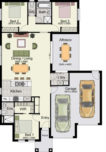 7 Planos de casas modernas de 1 piso y cochera doble y ventanal