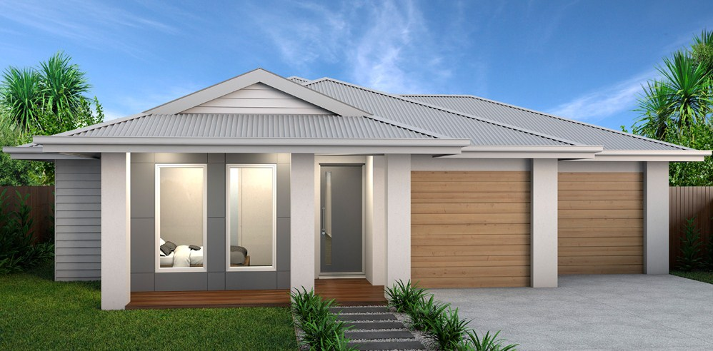 7 Plans of modern houses with 1 floor and double garage and large window