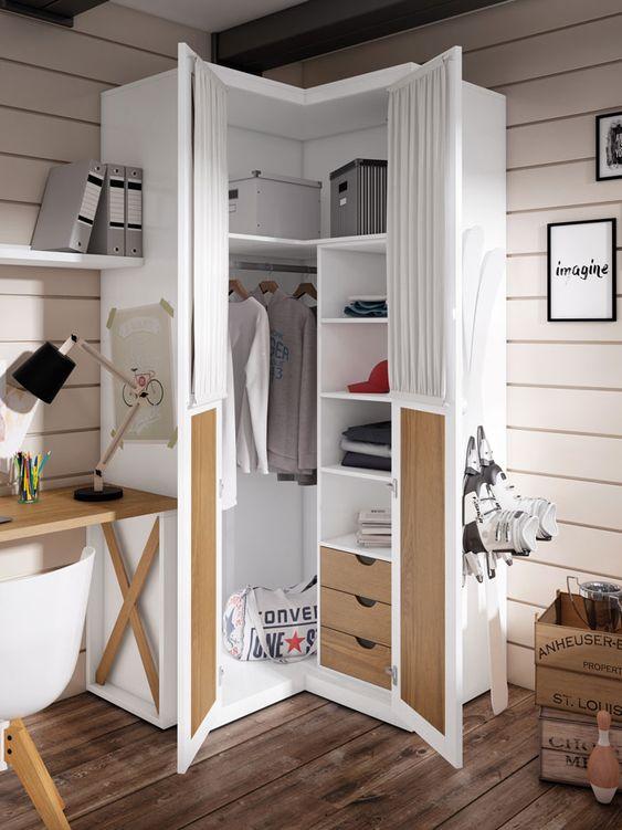 Ideas de armarios económicos para espacios reducidos en esquina