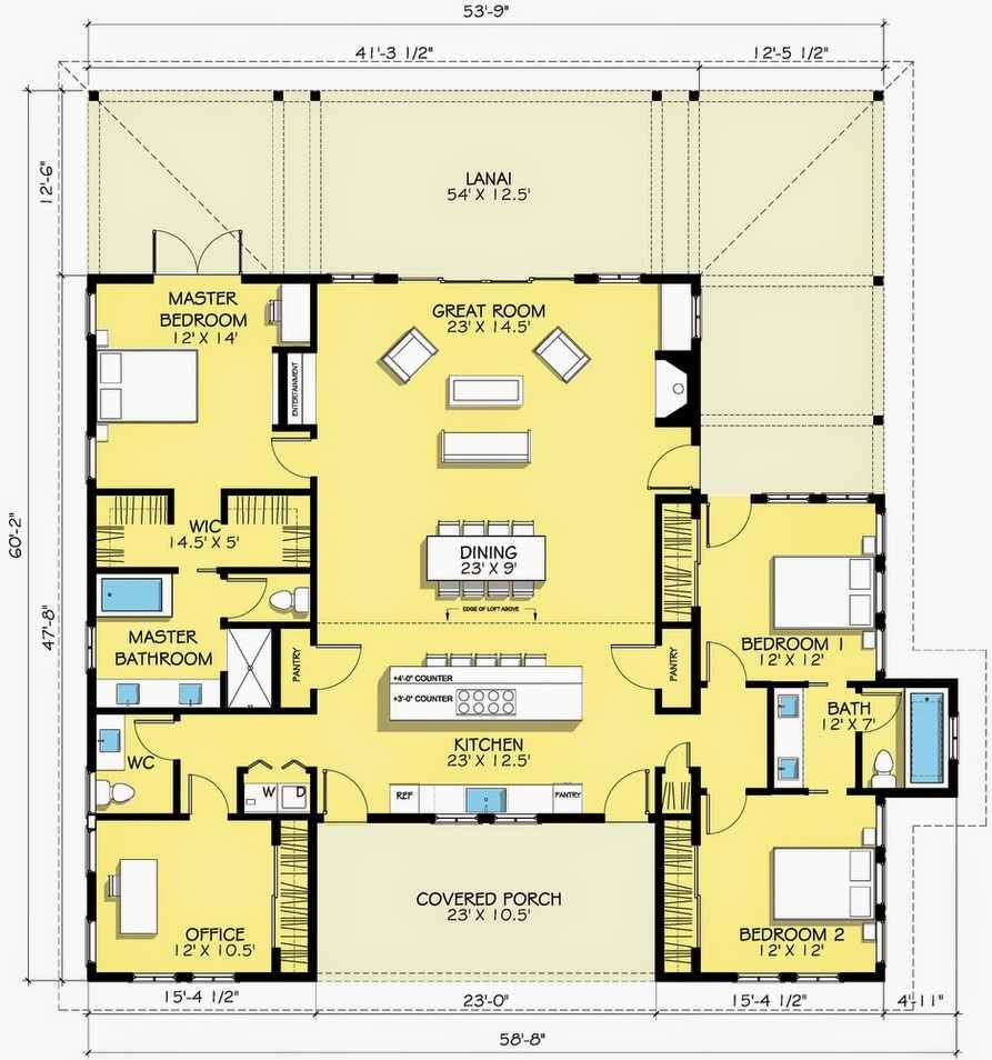 Plano de casa con oficina en esquina