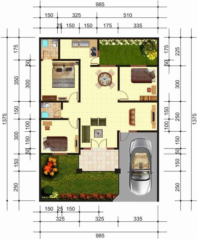 Plano de casa de 3 dormitorios en terreno de 10x14 metros