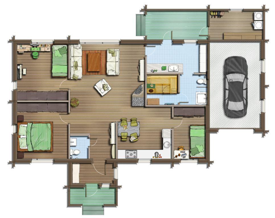 Plano para casas de 3 habitaciones con forma irregular